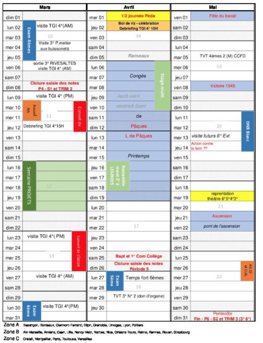 agenda annuel